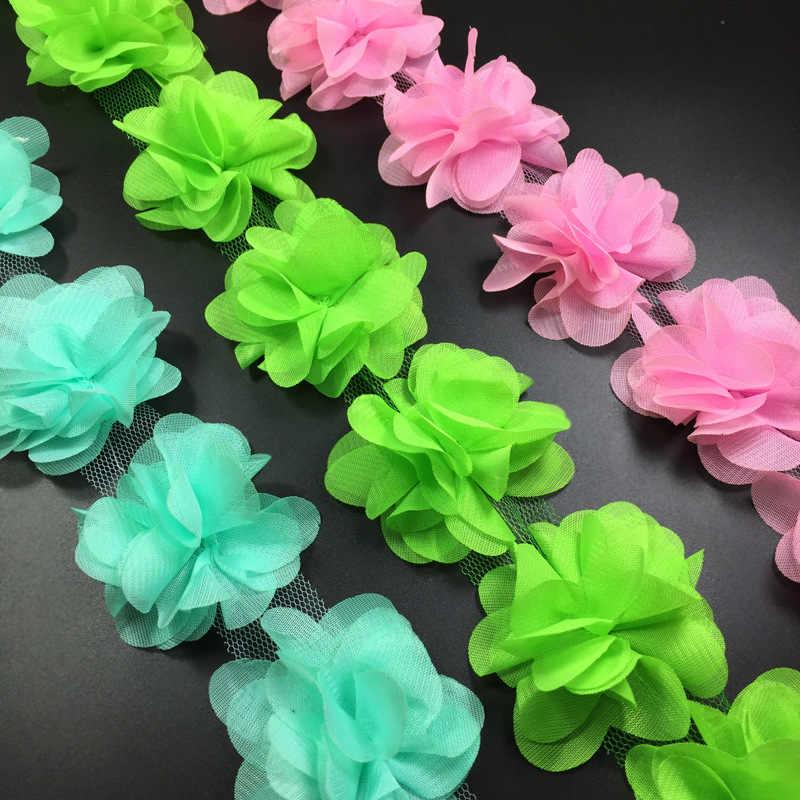 12 adet çiçek 3D şifon küme çiçekler dantel elbise dekorasyon dantel kumaş aplike kırpma dikiş malzemeleri