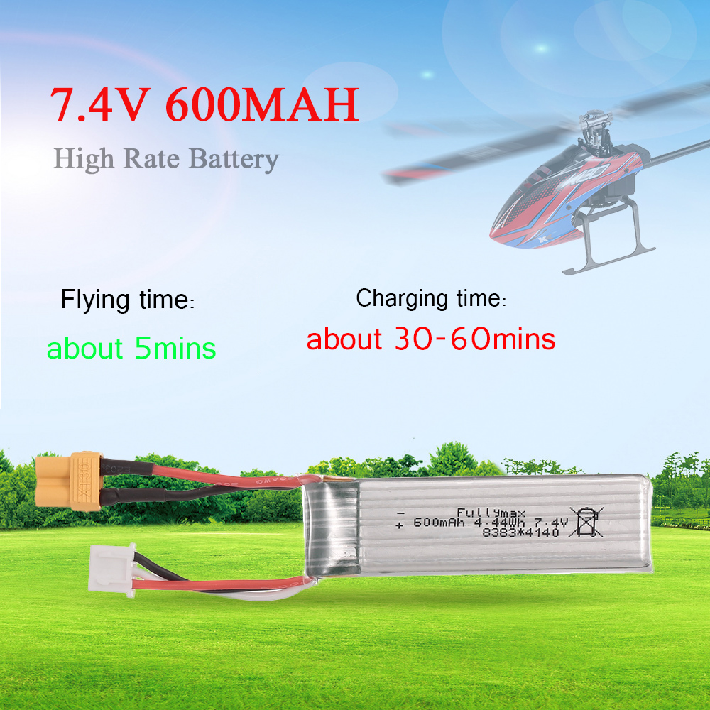 <font><b>7.4V</b></font> <font><b>600mAh</b></font> 25C 2S <font><b>Lipo</b></font> <font><b>Battery</b></font> Aircraft Parts for XK K130 RC Helicopter image