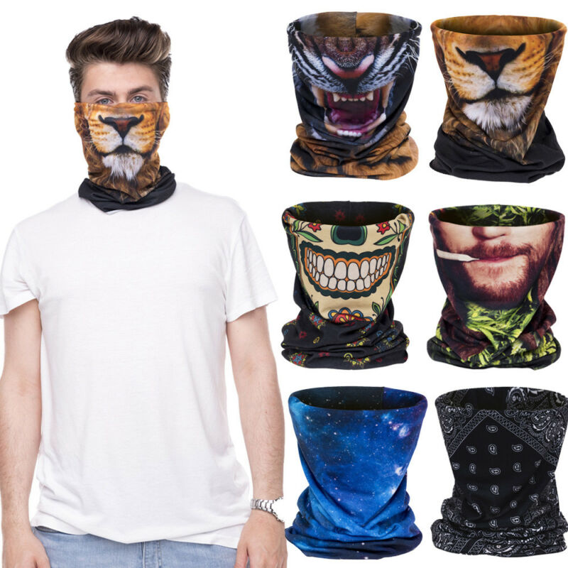 3D Printed Multi Scarf Men Face Mask Biker Balaclava Neck Tube Snood Scarf Face Mask Warmer Bandana