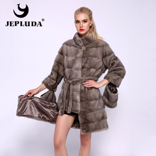 JEPLUDA Full Pelt Natural Real Mink Fur Coat Stand Collar Hem Sleeve Removable Real Fur Coat Women Winter Warm Real Fur Jacket