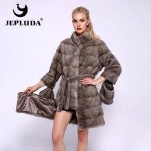 JEPLUDA מלא פלט טבעי אמיתי מינק פרווה מעיל צווארון עומד Hem שרוול נשלף אמיתי פרווה מעיל נשים החורף חם אמיתי פרווה מעיל
