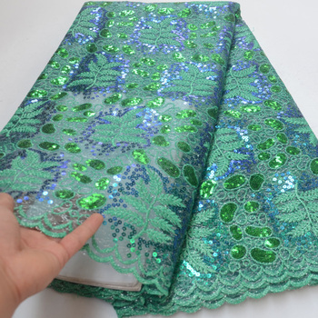 8 colors High quality green African sequins French net lace fabric wonderful embroidered French lace fabric for dress FLP181