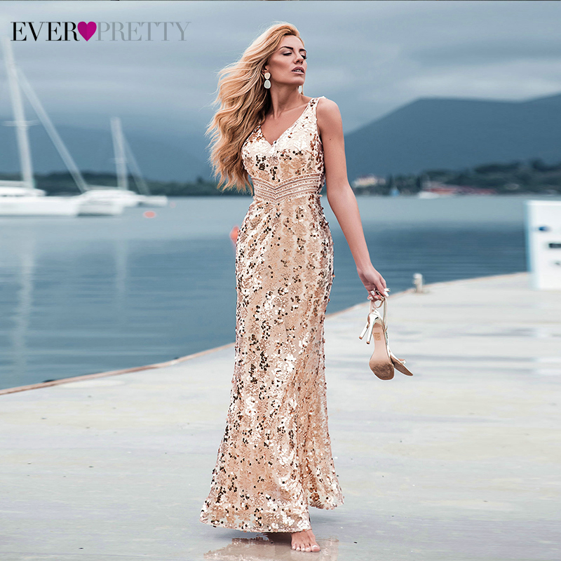 Sexy Arabic Gold Prom Dresses Long Ever Pretty V-Neck Sequined Sleeveless Luxury Mermaid Party Gowns Abiye Gece Elbisesi 2020
