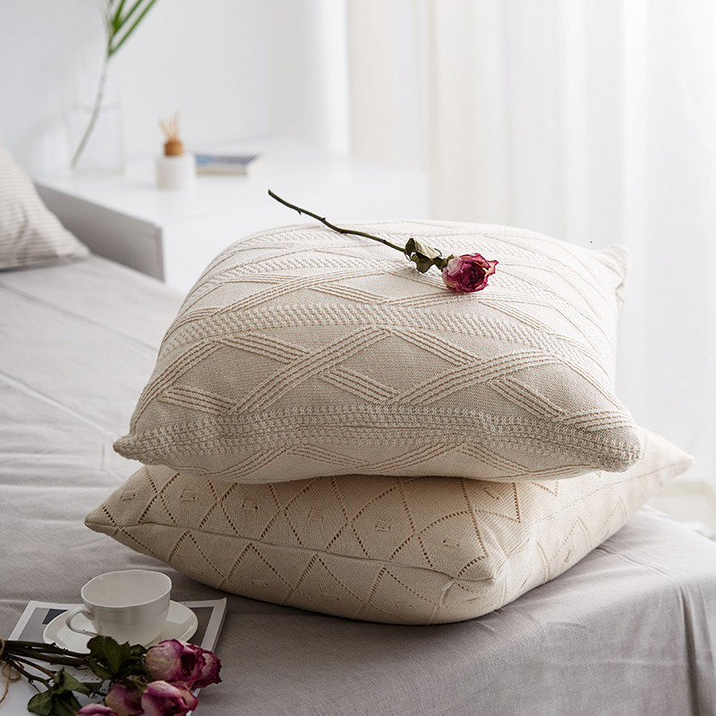 100% Cotton <font><b>Cushion</b></font> <font><b>Cover</b></font> Knitted Pillow <font><b>Cover</b></font> Jacquard Sofa Bedroom Pillows <font><b>50x50</b></font> Square Home Decor <font><b>Cushion</b></font> <font><b>Cover</b></font> Throw Pillows image