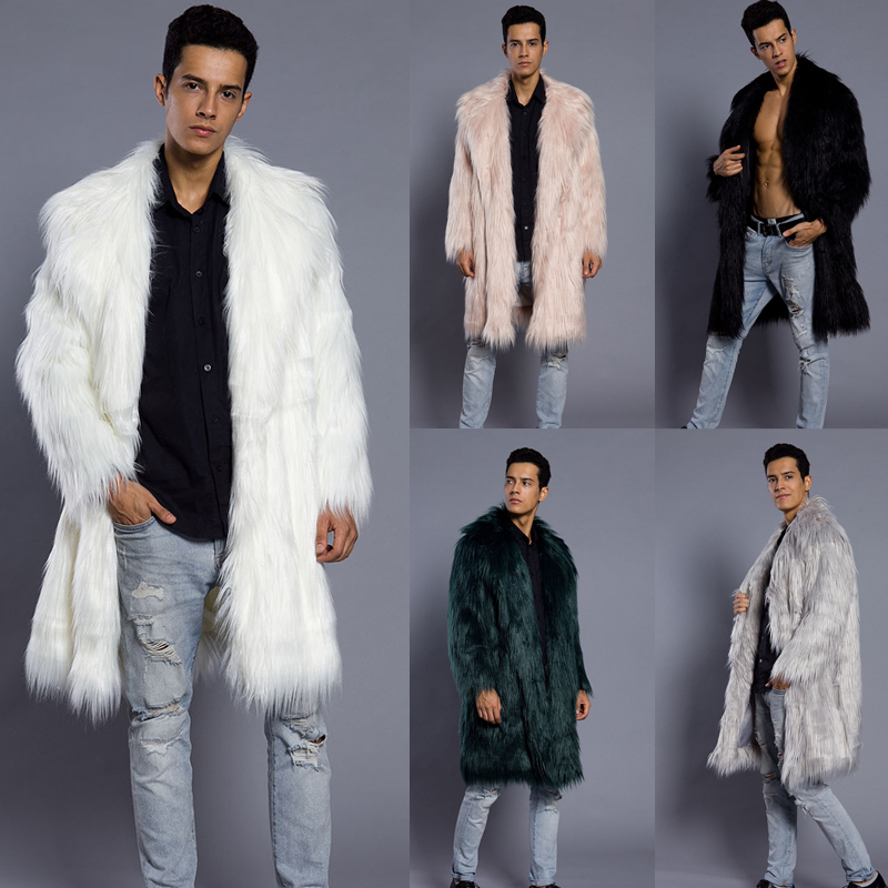 Lanshifei 2019 Hot Winter Autumn Men Faux Fox Fur Coat Long Windbreaker Loose Warm Fashion Man Fake Long Fur Thick Jacket Parka