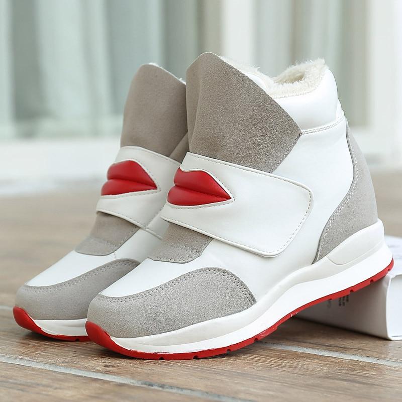 Women Vulcanized Sneakers Shoes Platform Height Increasing Walking Shoes 2019 Warm Winter Trainers Footwear Female Casual Shoes