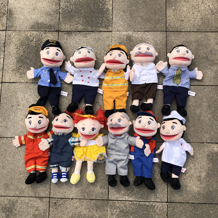 30cm Police Doctor Engineer Cook Firefighter Parent-child Interaction Plush Hand Puppet, Baby Kids Plush Toy Gift Free Shipping