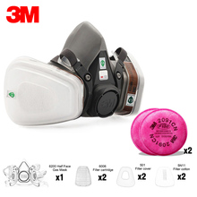 19in1 3M 6200 Half Facepiece Gas Mask Respirator With 6001/2091/5N11 Filter Fit Painting Spraying Dust Proof