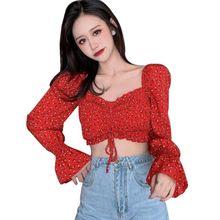Женские блузки в стиле ретро liva girl Корейская блузка с квадратным