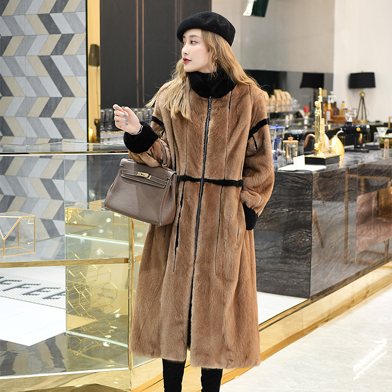 2020 Real Mink Fur Coat Women Long Winter Jacket For Women Natural Fur Coats And Jackets Warm Manteau Femme Hiver 919 KJ3660