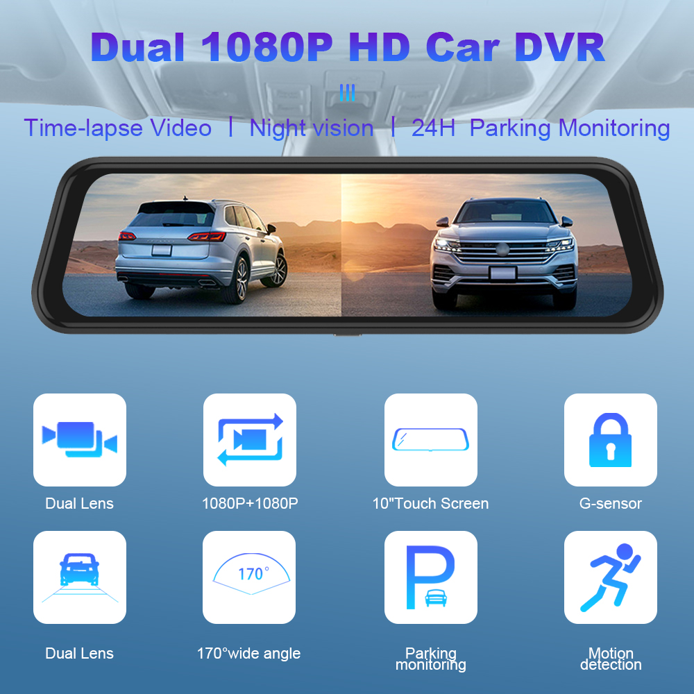 """R-Way 10"""" Dash Cam for Car, 2.5D IPS Mirror  Auto DVR Recorder with Rearview Camera, 1080P HD Video Rec Black Box 2"""