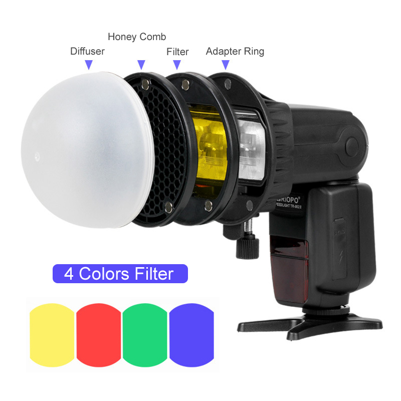 Triopo Flash Magnetic Dome Honeycomb Grid Ball Diffuser Color Filter Speedlite Accessories Kit For Godox Yongnuo Flashlight