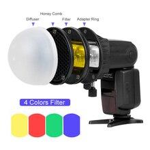 Triopo Flash dôme magnétique nid dabeille grille boule diffuseur couleur filtre Speedlite accessoires Kit pour Godox Yongnuo lampe de poche