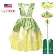 Conto de fadas a princesa e sapo traje para criança idade 4-12 anos meninas princesa tianna vestidos aniversário fantasia vestido festa vestidos