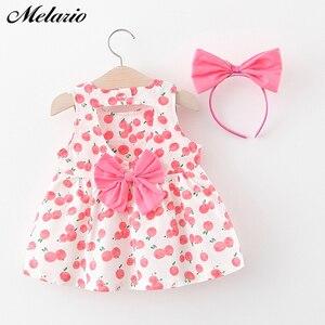 Melario bebê meninas vestidos de verão roupas meninas do bebê impressão meninas vestido de festa princesa terno recém-nascido 1st vestido de aniversário