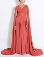 Modest Muslim Long Party Dress Coral Chiffon Evening Dresses 2020 A Line Surplice V Neck Prom Gowns with Cape Sweep Train