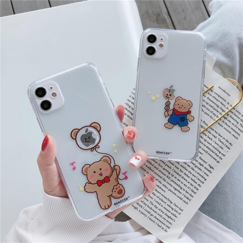 Corée ours heureux pour iPhone 11 12 Pro MAX 7 8 Plus étui clair anti-recul pour iphone 12 mini x xr xs coque