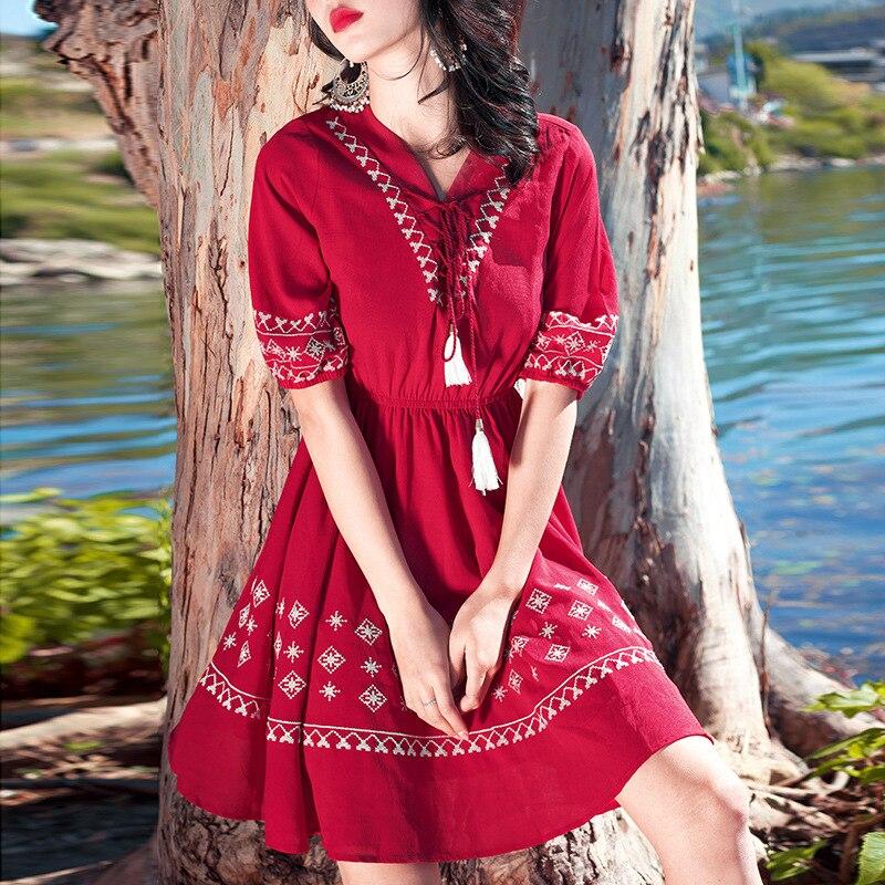 Bohemian Retro National Wind Embroidered Thailand Bali Island Holiday Slimming Beach Skirt Women's Summer Dress