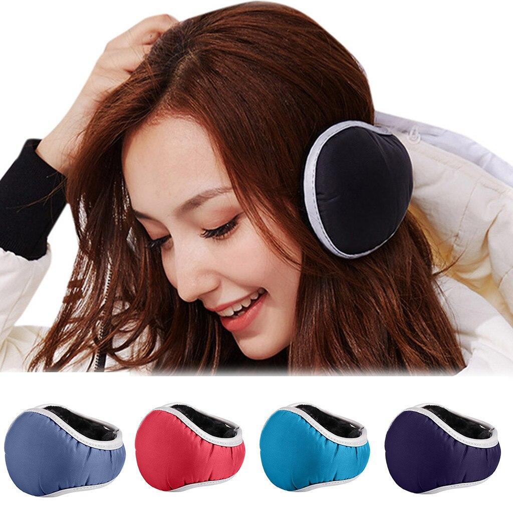 Unisex Winter Waterproof Adjustable Earmuffs With Reflective Strips Men Women Casual Soft Foldable Ear Warmer Light Colors