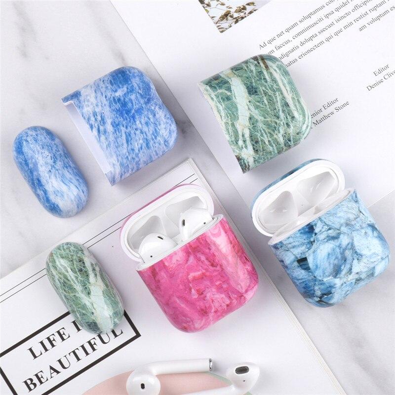 KJOEW Luxury Marble Headphone Case For AirPods1 Generation TPU Soft Shell For Airpods2 Generation Apple Bluetooth Headphone Case