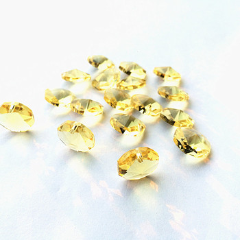 Hot Sale!One Hole 14mm Yellow Crystal Octagon Beads For Chandelier Hanging garlands Strands Glass Lamp Parts DIY 2000pcs/lot