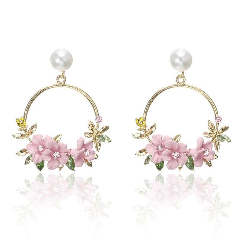 CARTER LISA Fashion Korean Crystal Flower Circle Pearl Zircon Drop Earrings For Women Dangle Earring Jewelry Present HLEZ67000