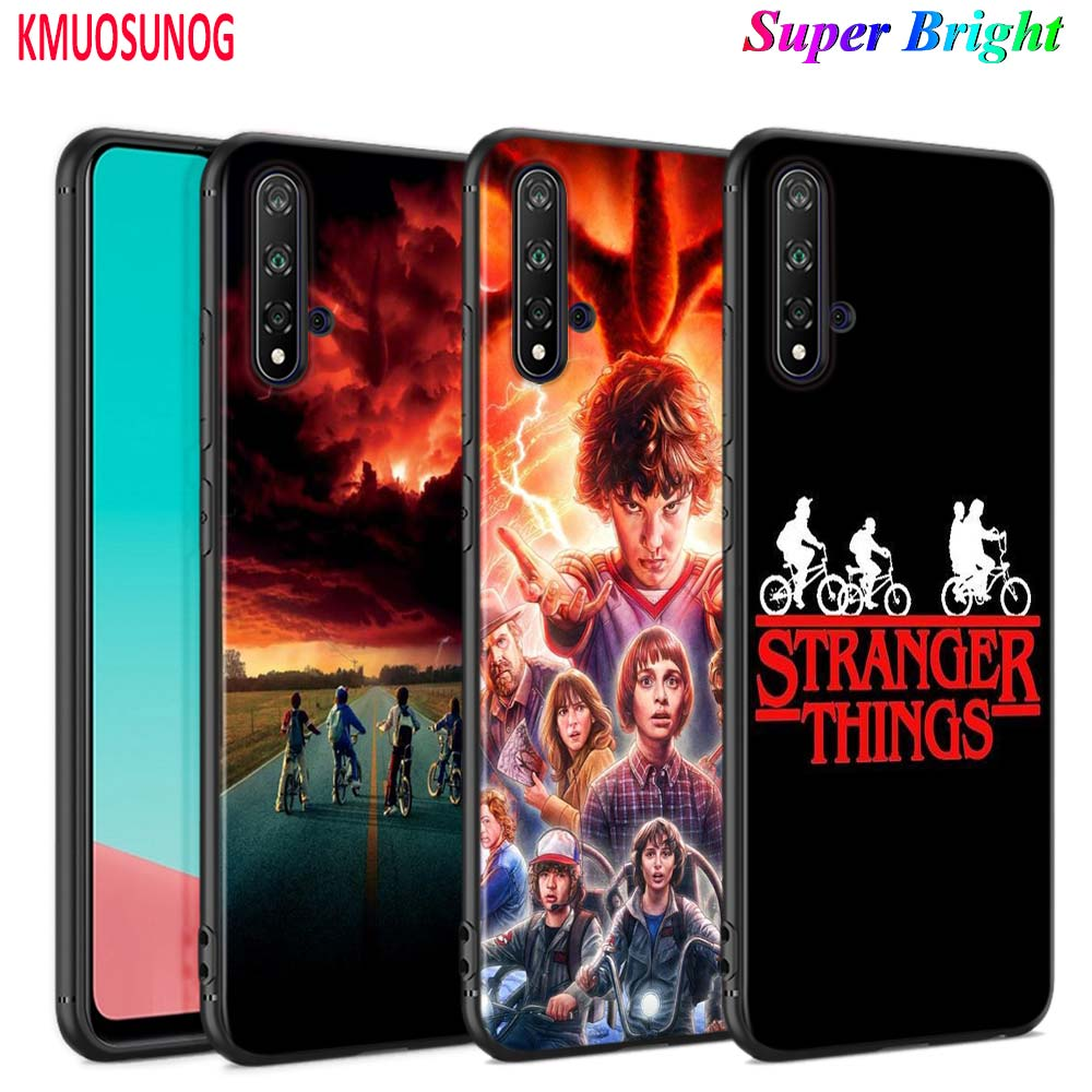 Black Cover <font><b>Stranger</b></font> <font><b>Things</b></font> for <font><b>Huawei</b></font> Nova 5 3i P Smart Z Plus 2019 P30 <font><b>P20</b></font> Pro P10 P9 P8 <font><b>Lite</b></font> Plus <font><b>Phone</b></font> <font><b>Case</b></font> image
