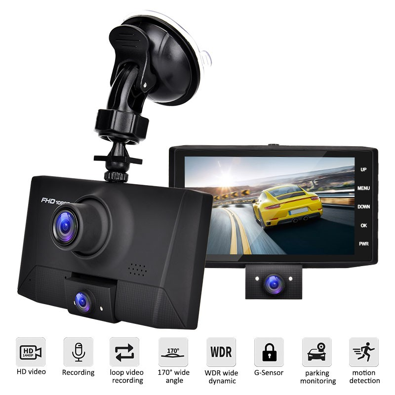 4 Inch Car DVR Dash Camera Full HD Loop Recording G sensor Parking Monitor Night Vision Movement Detection Rear View Camera Dash