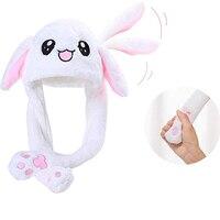 Счастливый плюшевый заячьими ушками шапка танцующий заячьими ушками сжимающее ухо вертикальное мультяшное животное плюшевая игрушка