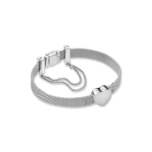 Image 2 - S925 כסף צבע בטיחות שרשרת לב בצורת חרוזים Fit מקורי צמיד מתנת סט לנשים חרוז קסם צמיד DIY תכשיטים