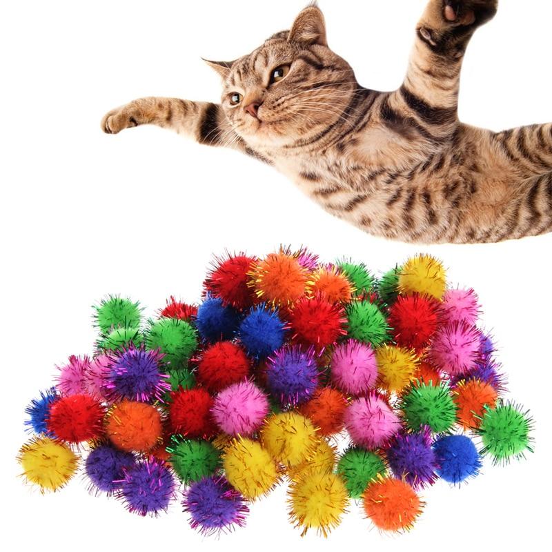 100Pcs Colorful Mini Sparkly Glitter Tinsel Balls Small Pom Ball For Cat Toys Q6PD