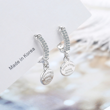 925 Sterling Silver Round Disc Letters Hoop Earrings Sparkling Cubic Zircon Earring For WOmen Gifts New Arrivals S-E1079