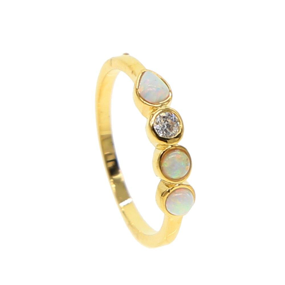 Anillo de piedra de ópalo de fuego blanco redondo para mujer, joyería de Color dorado, talla estadounidense, 5, 6, 7 y 8, promoción