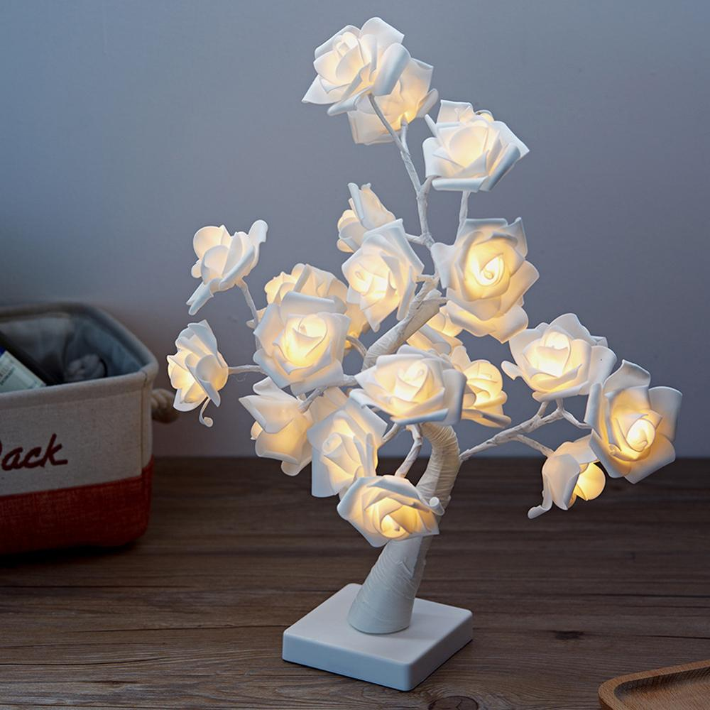 LED White Pink Rose Flower Bedside Bedroom Night Light Table Lamp Home Decor Simulation Tree Christmas Wedding Party