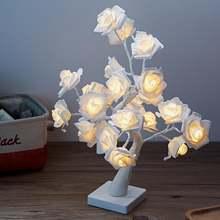 Led белый розовый цветок розы прикроватный ночной Светильник