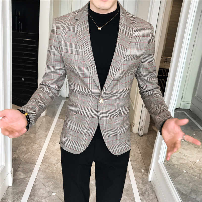 2019 Autumn Grey Plaid Blazers Men Blazer Homme Slim Fit Business Veste Homme Costume Vestidos De Novia Mens Office Check Jacket