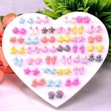 36 pares/lote estilo misto anti alergia meninas brincos definir moda oceano animal plástico parafuso prisioneiro brincos para presente de jóias femininas