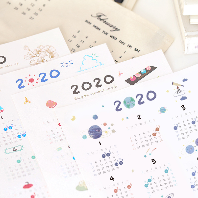 3 Pcs Calendar 2020 Yeaely Agenda Calendar Sticker Paper Sulfuric Acid Paper Set For Shool Office Supply Stationery Kids Gifts