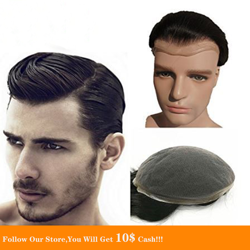 BYMC Full Lace Toupee Natural Hairline Black And dark brown European Homme Hair System Super Thin Skin Toupee Replacement System