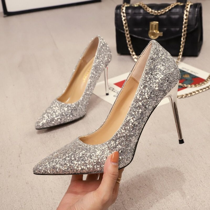 Women's Wedding Shoes Bride High Heels 2019 NEW Wild Joker Style Sequins Sexy Women Pumps Pointed Toes Silver Black Gold
