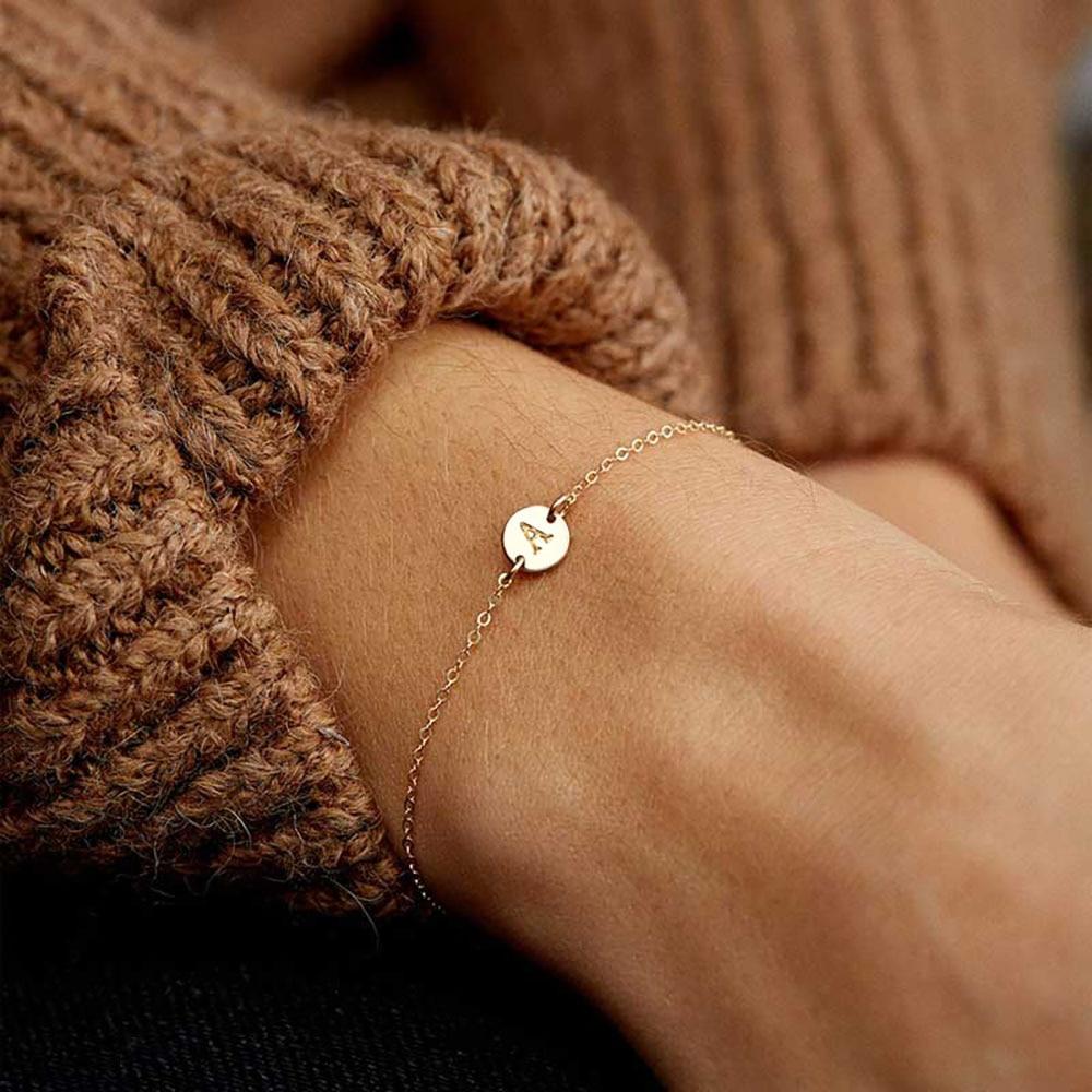 ZOVOLI Dainty Gold Initial Letter A-z Charm Bracelet Adjustable Chain Love Bangles Bracelets For Women Fashion Jewelry Gift