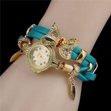 Takı saat kadınlar moda Vintage kelebek tasarım bilezik saatler sevimli Metal kolye kadınlar için Casual bayanlar izle