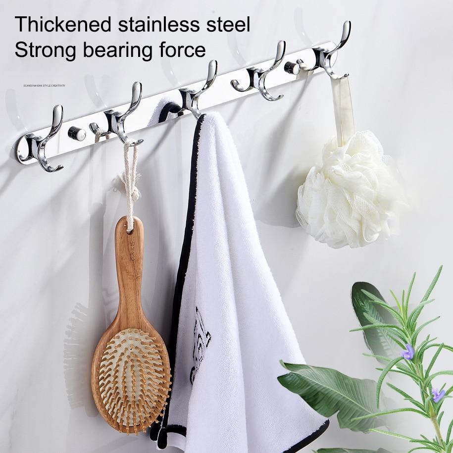 Без ударов шкаф одежда пальто ключ сумка крючок кухня ванная комната фурнитура крючок ряд крючок нержавеющая сталь сталь одежда стена крючок сам