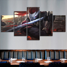 Wall Art Canvas Prints Poster 5 Pieces Yasuo The Unforgiven League of Legends Game Character Painting Home Decor Modular Picture
