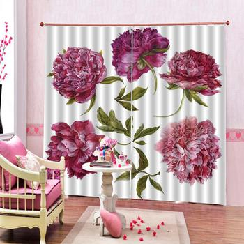 Decoration curtains Pink oil painting peony Flowers print Customized 3D Blackout Curtains Living Room Bedroom Hotel Window