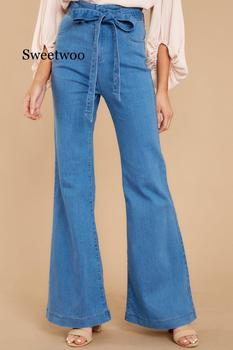 blue Tie Waist Flare Jeans Women Slim Denim Trousers 2020 spring High Waist Pants Belted Stretchy wide leg jeans tie waist flare hem jeans women denim trousers vintage ladies clothes fall high waist pants belted stretchy jeans wide leg jeans