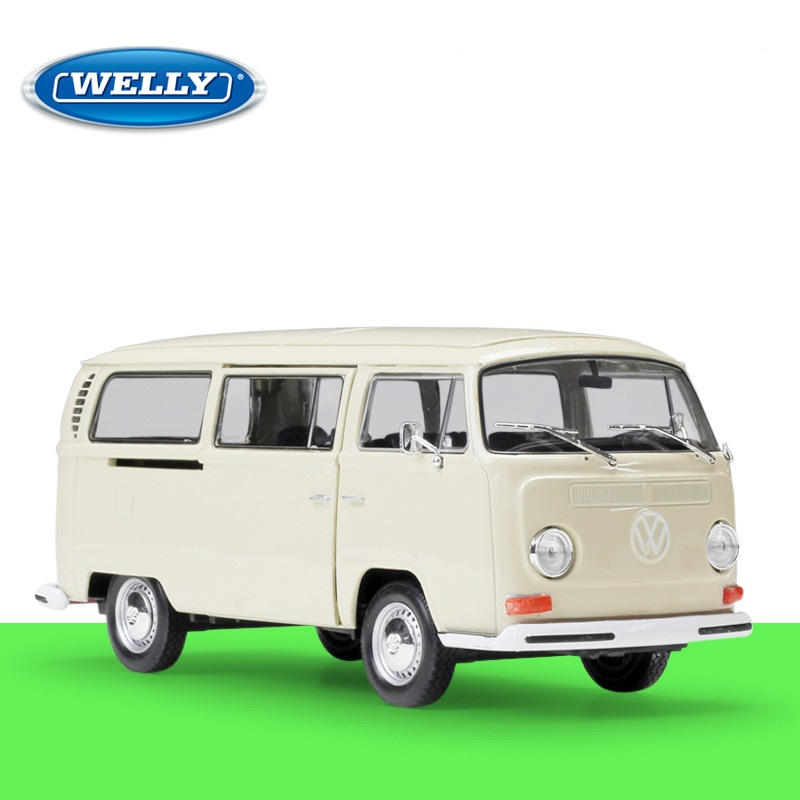 Welly 1:34-1:39 Die-cast 1972 Volkswagen T2 Bus Model with Box Collection Red
