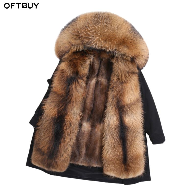 OFTBUY 2019 Waterproof Long Parka Winter Jacket Women Natural Real Raccoon Fur Collar Coat Thick Warm Outerwear Streetwear New