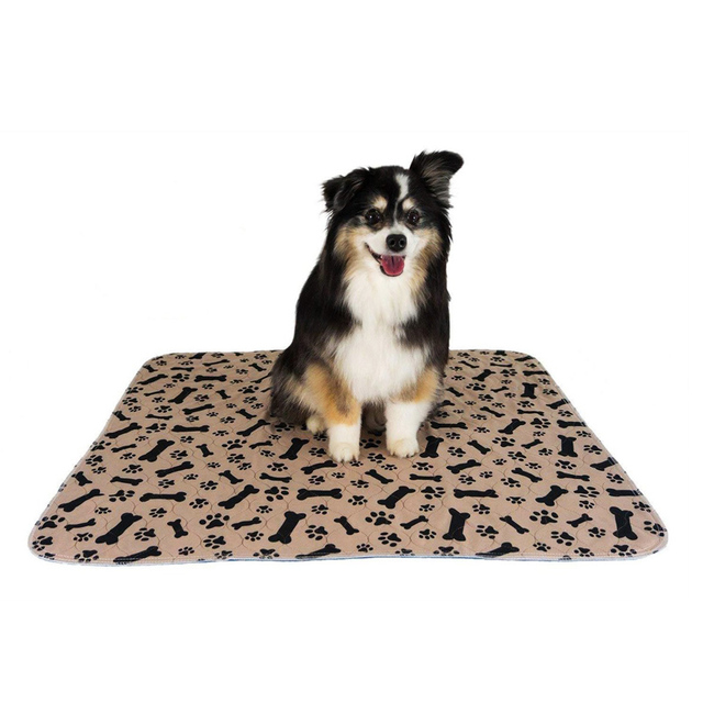 Dropship Dog Bed Mats Reusable Soft Flannel Fleece Paw Dog Urine Pad Puppy Pee Fast Absorbing Pad Rug For Dogs Cats Stock in US 2