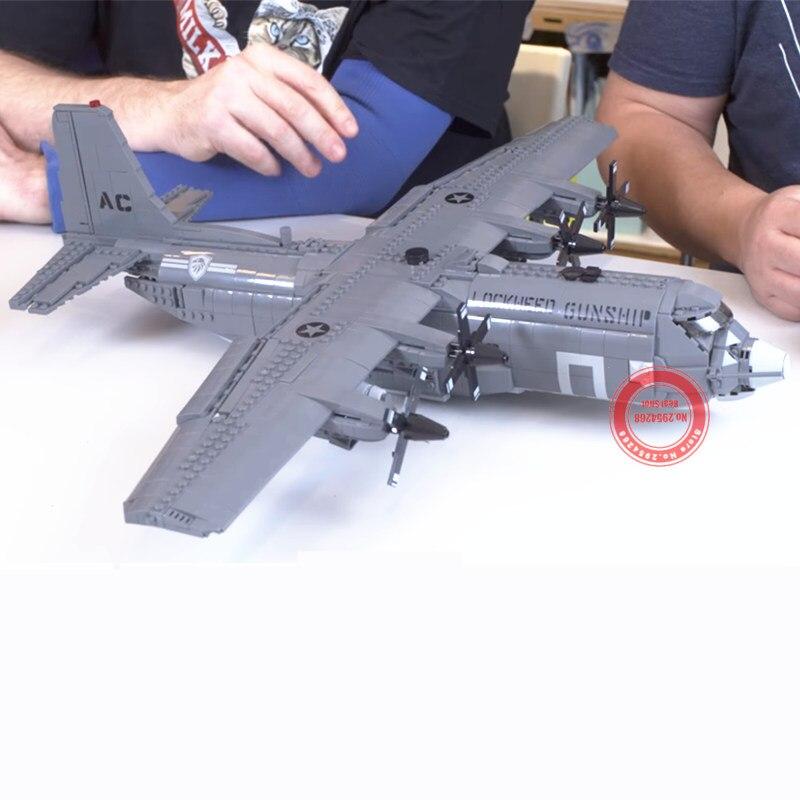 MOC AC 130 combate de guerra avión de la Fuerza Aérea ajuste técnico militar SWAT Army solider figuras bloques de construcción juguetes chico-in Bloques from Juguetes y pasatiempos    2